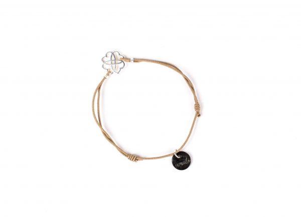 Armband Beige mit Blume - größenverstellbar & handgemacht