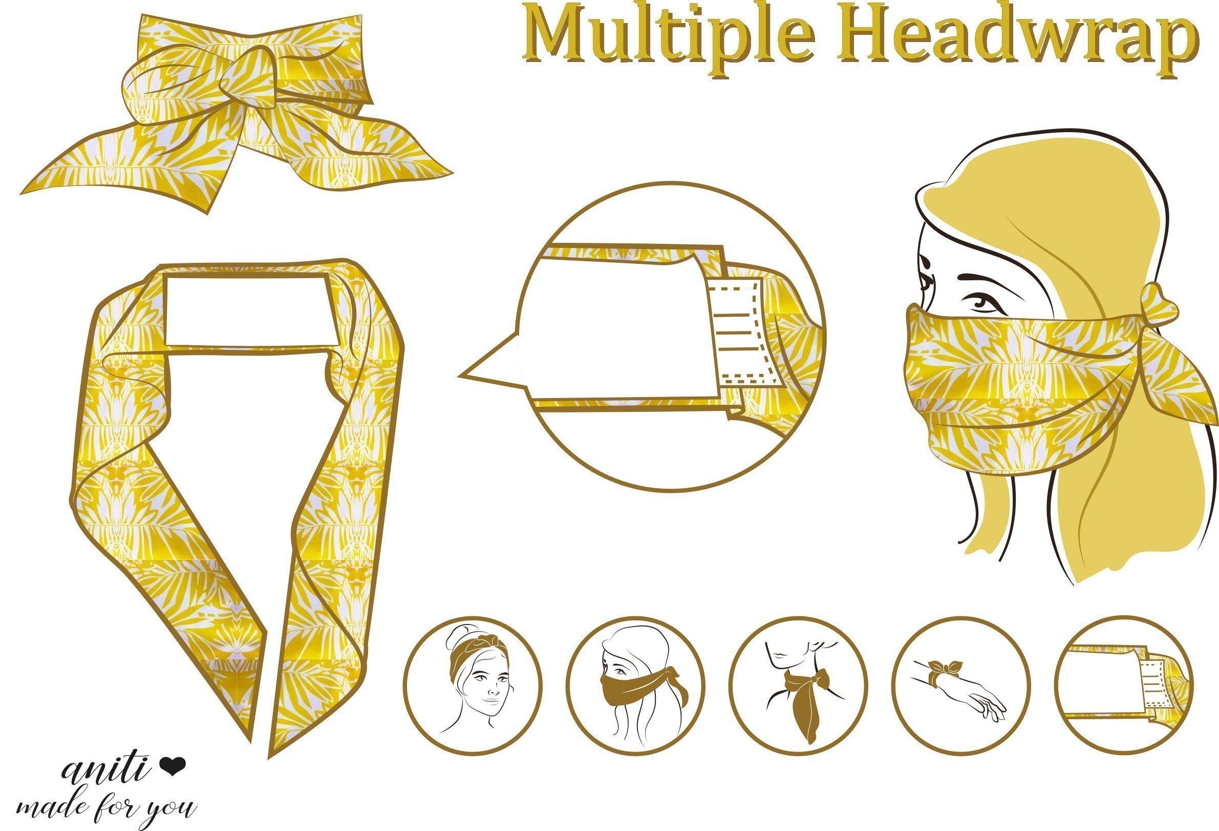 Mund Nasen Haarband gelb